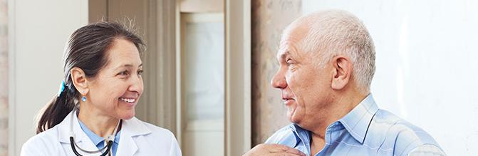 Doctor speaks with patient.